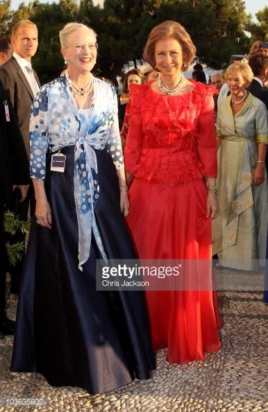 Queen Margrethe of Denmark and Queen Sofia of Spain arrives for the wedding of Prince Nikolaos and Miss Tatiana Blatnik at the Cathedral of Ayios Nikolaos (St. Nicholas) on August 25, 2010 in Spetses, Greece. Representatives from Europe�s royal families will join the many guests who have travelled to the island to attend the wedding of Prince Nikolaos of Greece, the second son of King Constantine of Greece and Queen Anne-Marie of Greece and Tatiana Blatnik an events planner for Diane Von…