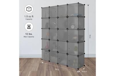 Armoire Langria Armoire De Rangement 20 Cubes Diy Armoire Penderie Etageres De Rangement Modulable Pour Vetements Chaussures Locker Storage Storage Bookshelves