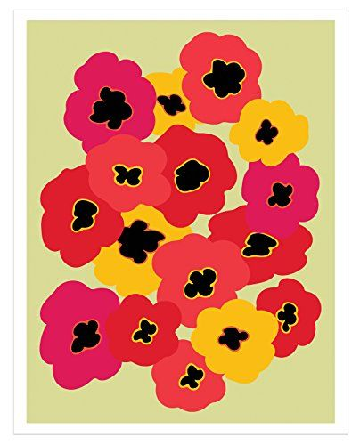 #Marimekko - Poppy Garden - #MidCenturyModern #WallArt by Kat Charles & Josephine http://www.amazon.com/dp/B016ODNCVU/ref=cm_sw_r_pi_dp_AaZqwb0HS5RCX - I have this print hanging in my kitchen. It is so cheerful that it makes me smile every time I see it.