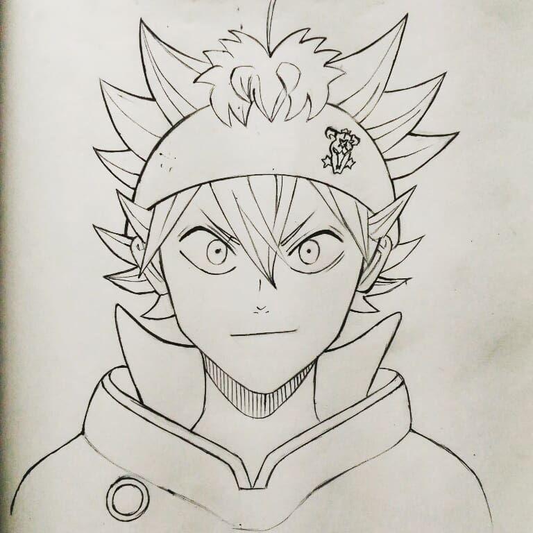 Картинки для срисовки аниме черный клевер черно-белые