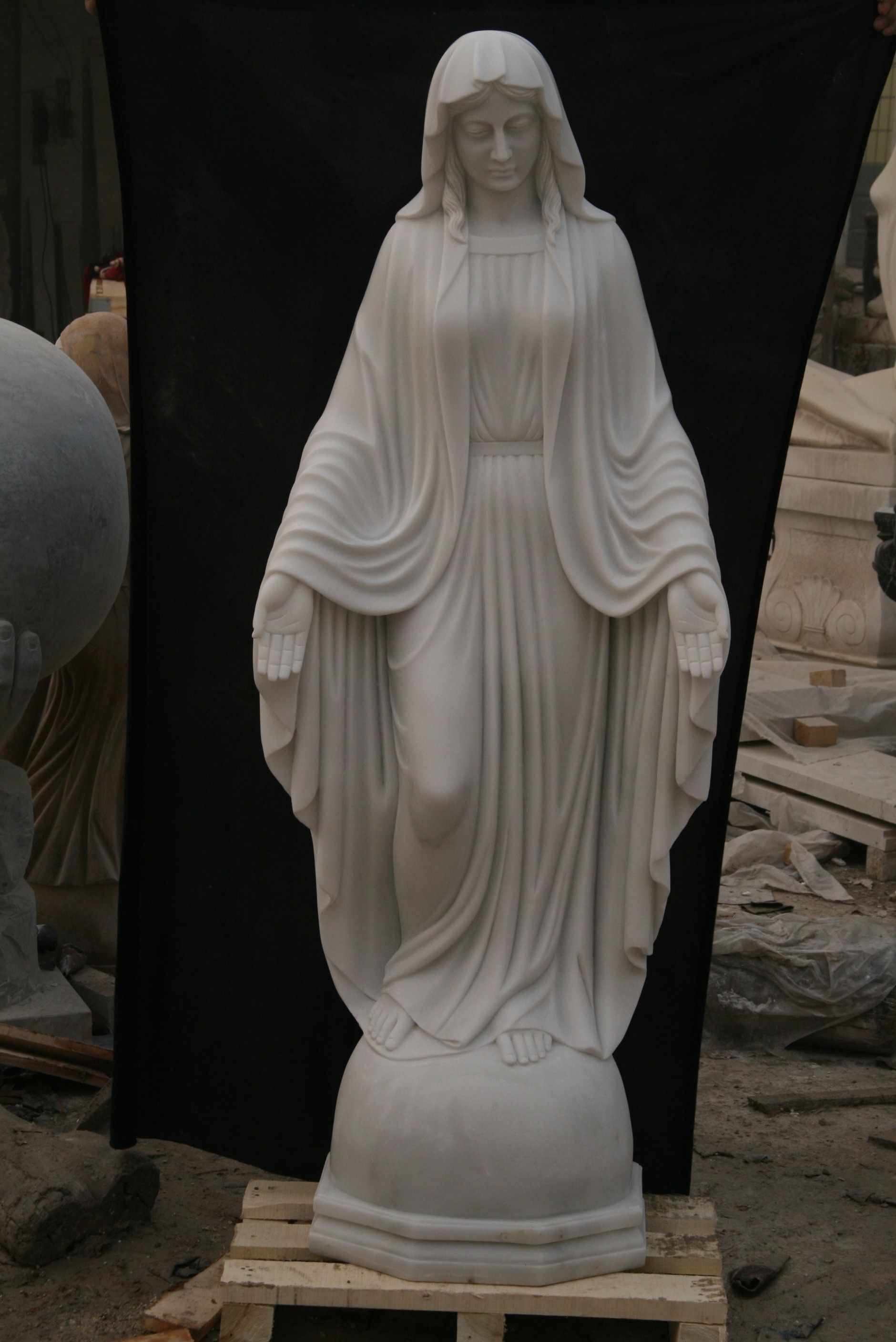 Hand Carved Marble Saint Mary Jesus Statue Statue Mary And Jesus