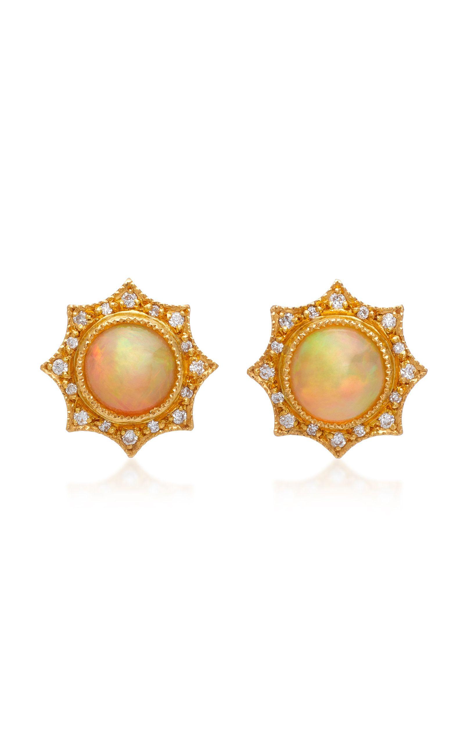 Arman Sarkisyan 22K Gold, Opal And Diamond Stud Earrings