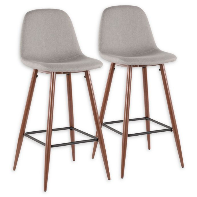 Swell Lumisource Polyester Upholstered Pebble Bar Stools Set Of Theyellowbook Wood Chair Design Ideas Theyellowbookinfo