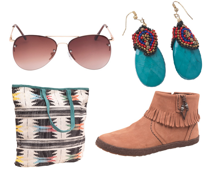 Accessories are a must have for any outfit .Go boho chic with tassle boots, aztec pattern bag and turquoise earrings.