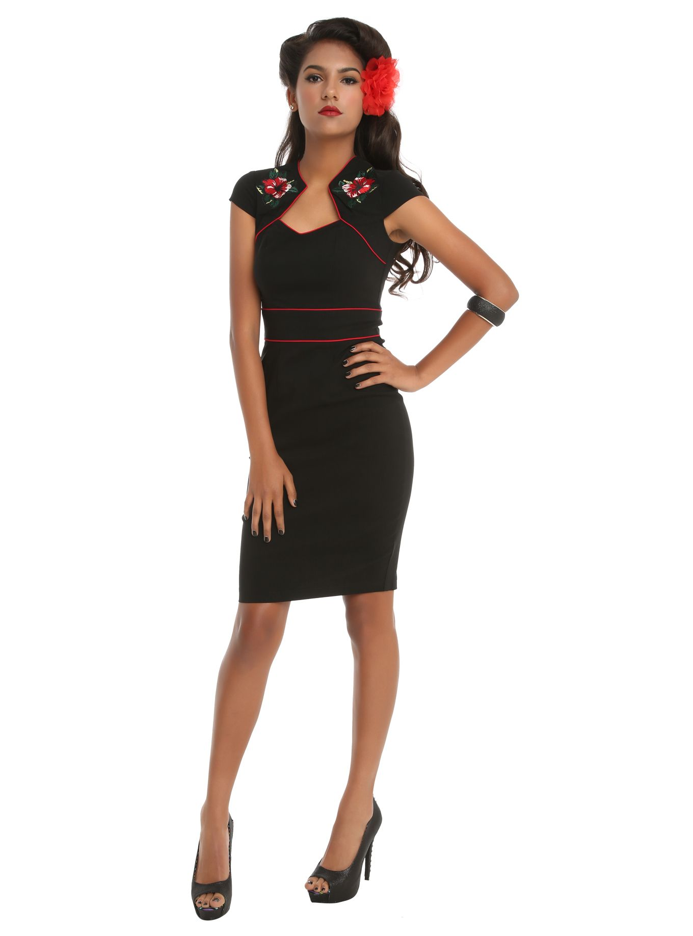 36ee999f4 Hell Bunny Hibiscus Flower Pencil Dress | Hot Topic | Dress ...
