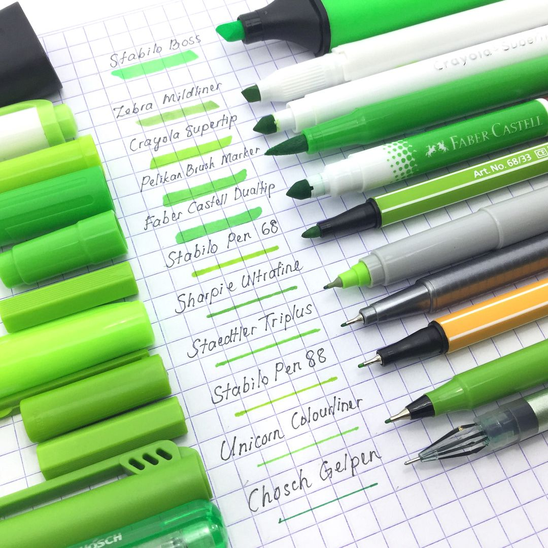 """848 Likes, 5 Comments - ninja.journal  (@ninja.journal) on Instagram: """"️ Grass green color pens swatches !!! - KEEP CALM & GO GREEN  - (Swipe to view more photos ) .…"""""""