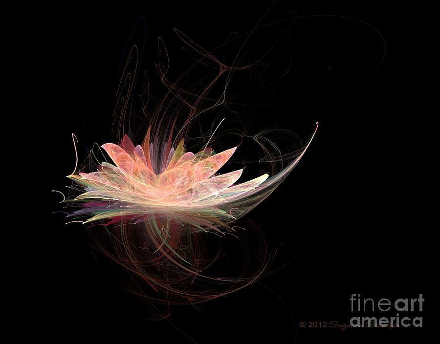 Lotus Flower Fractal Digital Art Fine Print