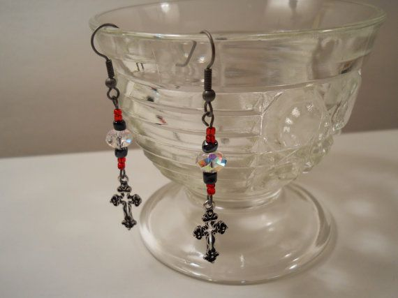 Cross Dangle Earrings with Swarovski Crystal & by PiccoloPattys