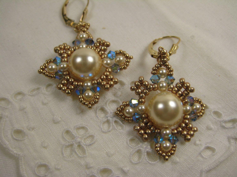 Swarovski Glass Pearl Drop Earrings Beaded By