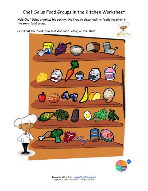 Food groups free printable activity page for kids- fun nutrition education printable worksheet pages for kids! Teachers click to print- The Food Groups in the Kitchen Worksheet- the fun way to learn about nutrition and the food groups. Kids help Chef Solus organize his kitchen cabinet- finding the foods that don't match the other foods on the food group shelf.