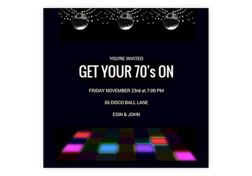 Use This Online Invitation For Your Next 70s Or Disco Party Invites