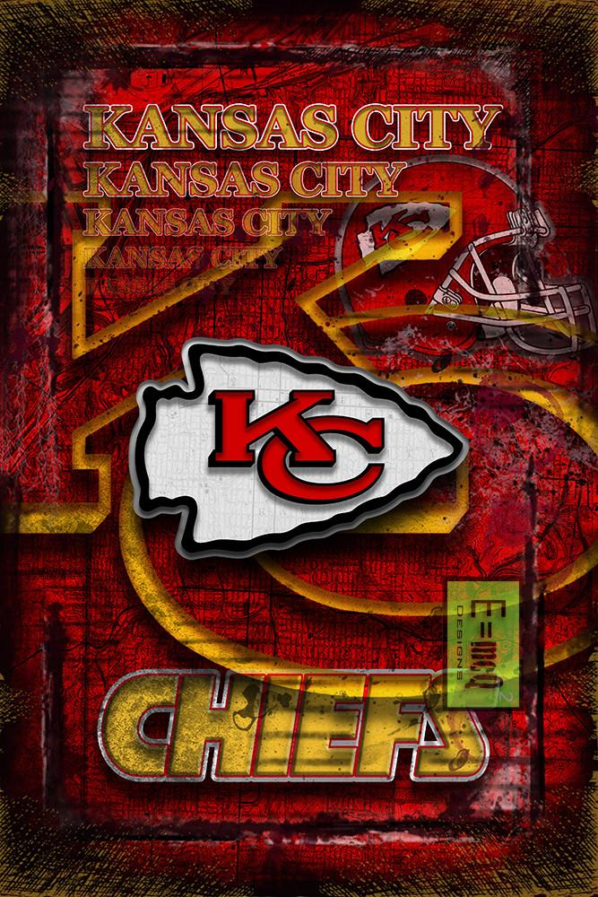 Kansas City Chiefs Sports Poster, Kansas City Chiefs Artwork, Chiefs in front of KC Map, Chiefs NFL Man Cave Gift
