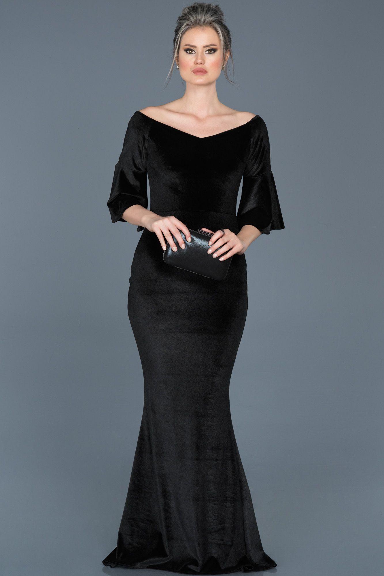 Siyah Kayik Yaka Kadife Elbise Abu519 The Dress Aksamustu Giysileri Elbise