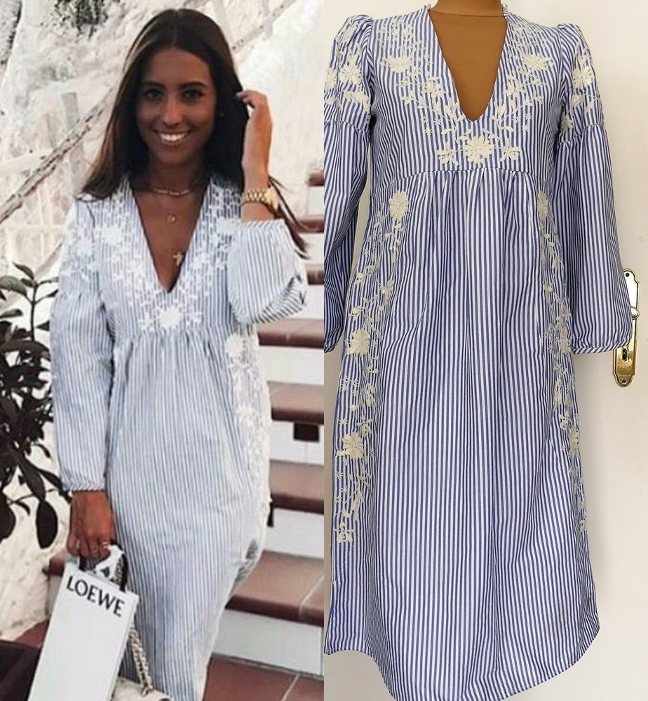 Zara kleid mit stickerei ebay