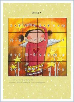 Bunte Kinderwelten - Atelier BuntePunkt: Rechenpuzzle Engel mit Sternen