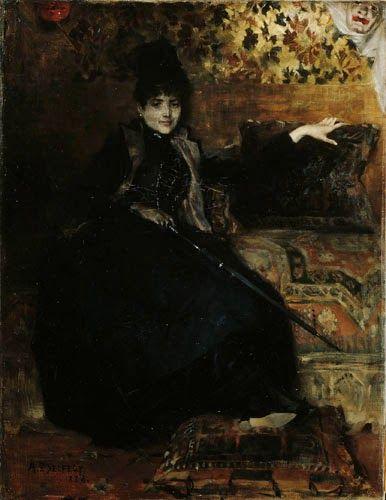 Mustiin pukeutunut nainen