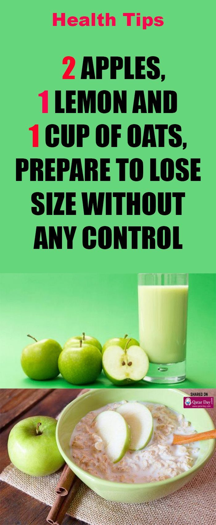 2 Apples, 1 Lemon And 1 Cup Of Oats, Prepare To Lose Size
