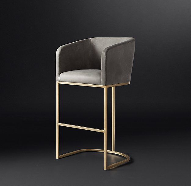 Contemporary Furniture And Stools: Emery Barrelback Leather Stool