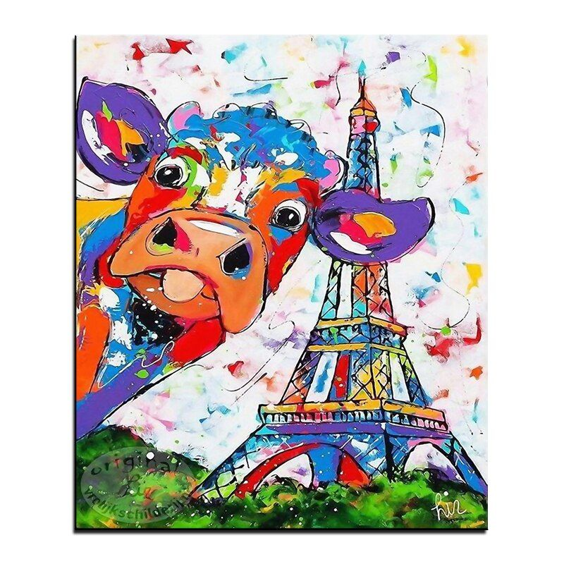 Colorful cows and tower Frame DIY Painting By Numbers Wall