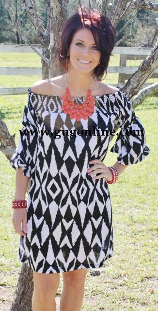 8536af1b59d8 Giddy Up Glamour www.gugonline.com $29.95 Aztec Affair Black and White  Print Dress