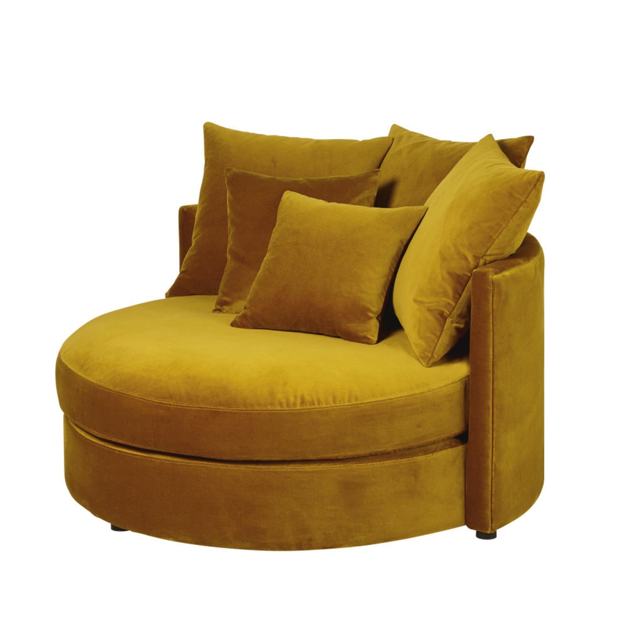 Rundes 1 2 Sitzer Sofa Mit Samtbezug Senfgelb En 2020 Amarillo Mostaza Amarillo Mostacilla