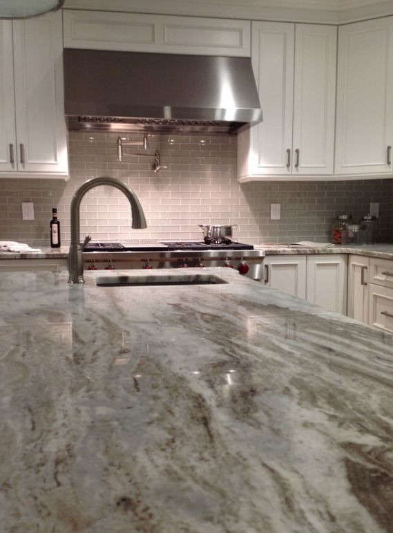 Element Mist glass 2 X 6 with Fantasy Brown granite kitchen