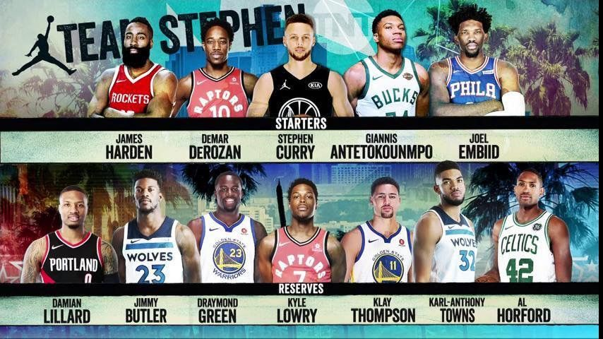 Steph and LeBron s All Star teams!  TeamCurry roster for the 2018 NBA All  Star game. b93cc72ee