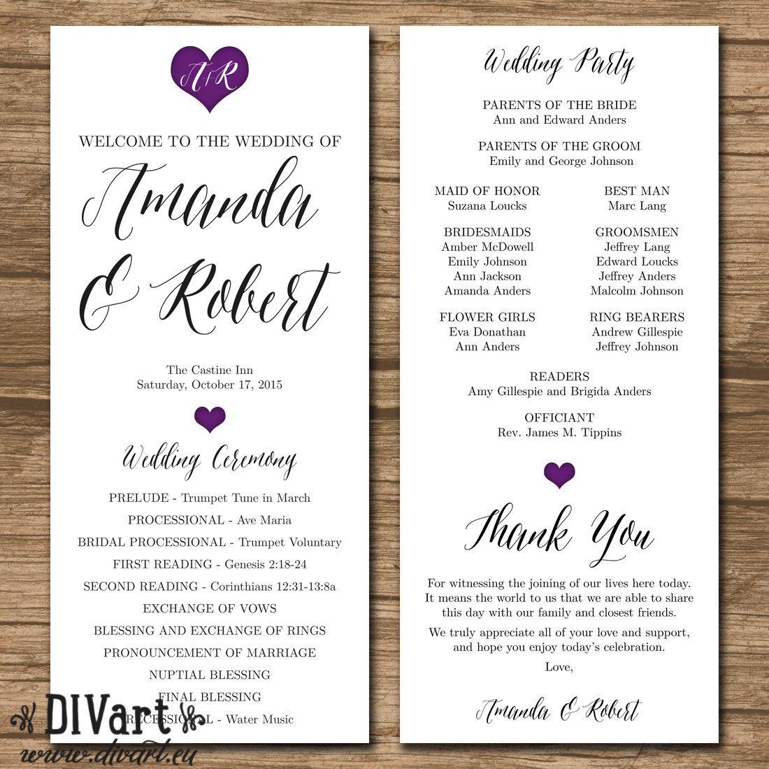 wedding program ceremony program order of events printable files