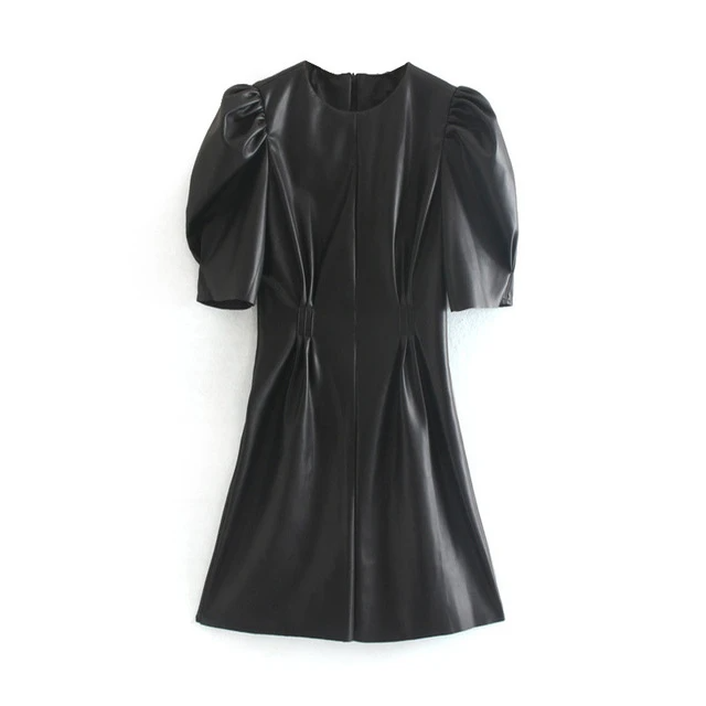 Faux Leather Sexy Club Puff Short Sleeve Bodycon Party Dress