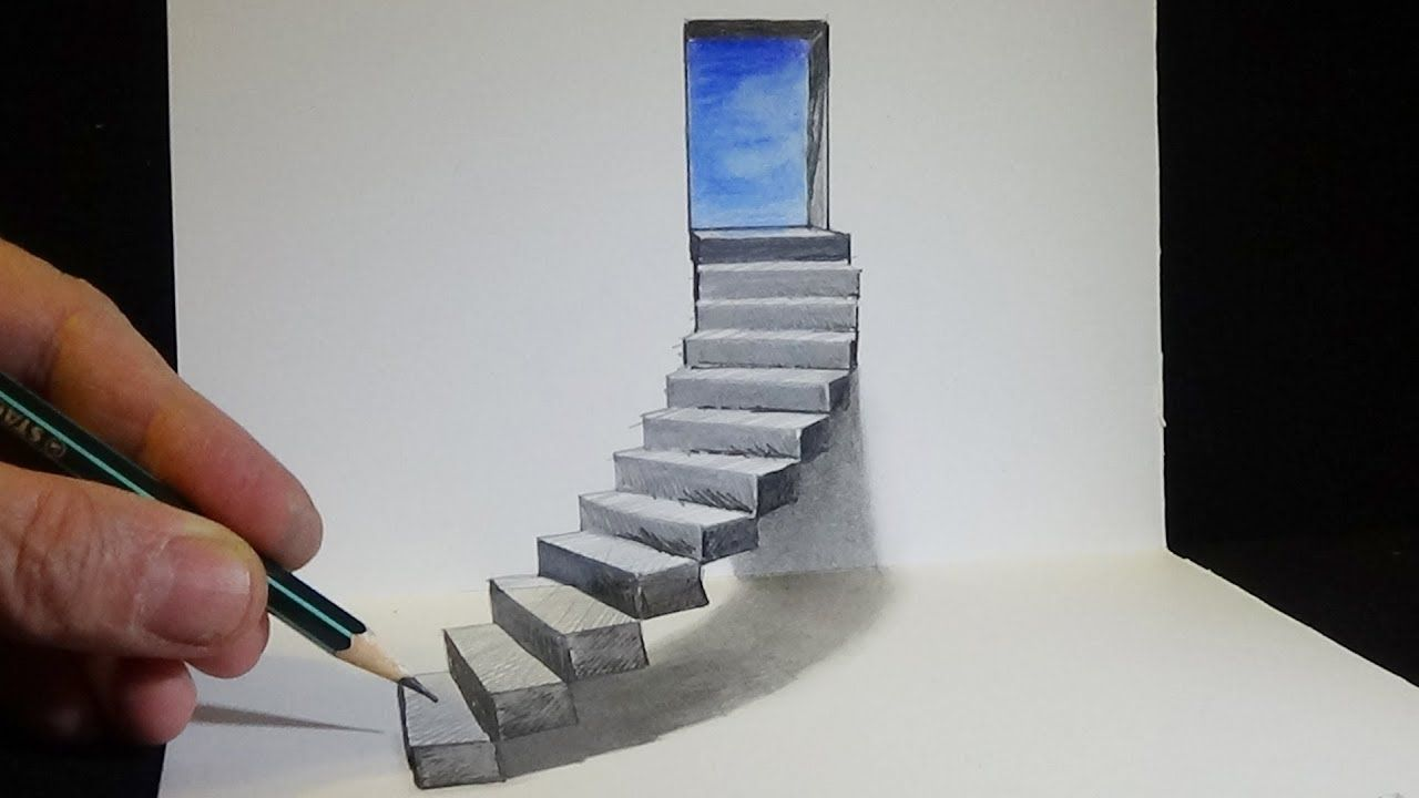 Drawing stairs to the door how to draw 3d steps anamorphic illusion