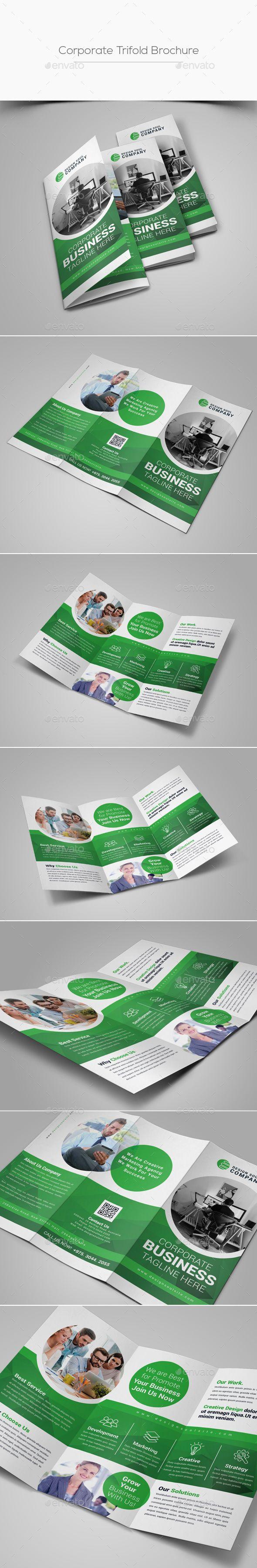 Printable Tri Fold Brochure Template Trifold Brochure  Corporate Brochures #brochure #templates#design .