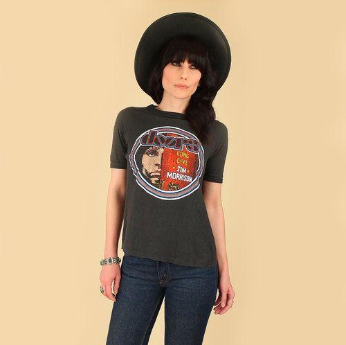 1e6f52e88a47  hellhoundvintage Vintage Tshirt The Doors Jim Morrison 1970s style fashion  inspo rock and roll rocker girl
