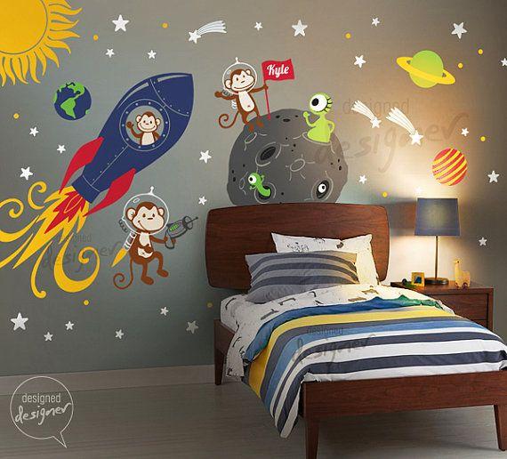 Space Wall Decal, Rocket Ship, Alien, Planet, Monkey, Astro, Boys