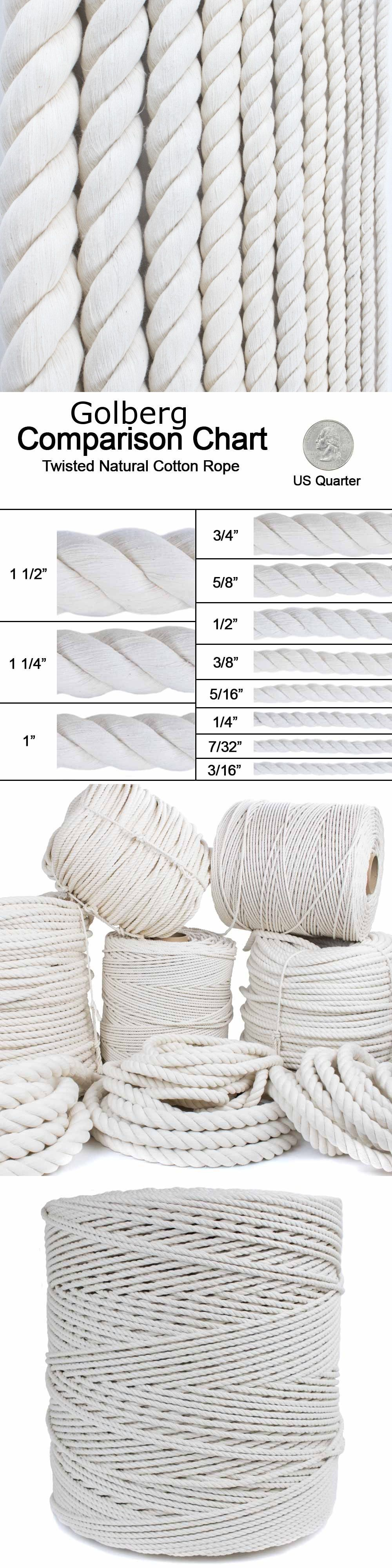 1//4 Several Lengths to Choose 3//16 7//32 1//4 5//16 3//8 1//2 5//8 3//4 1 1 1//4 GOLBERG G 1 1//2 5//16 GOLBERG Twisted 100/% Natural Cotton Rope 5//32 5//8 1 1//4 White Cotton Rope 3//4 3//16 3//8 1//2 1 7//32
