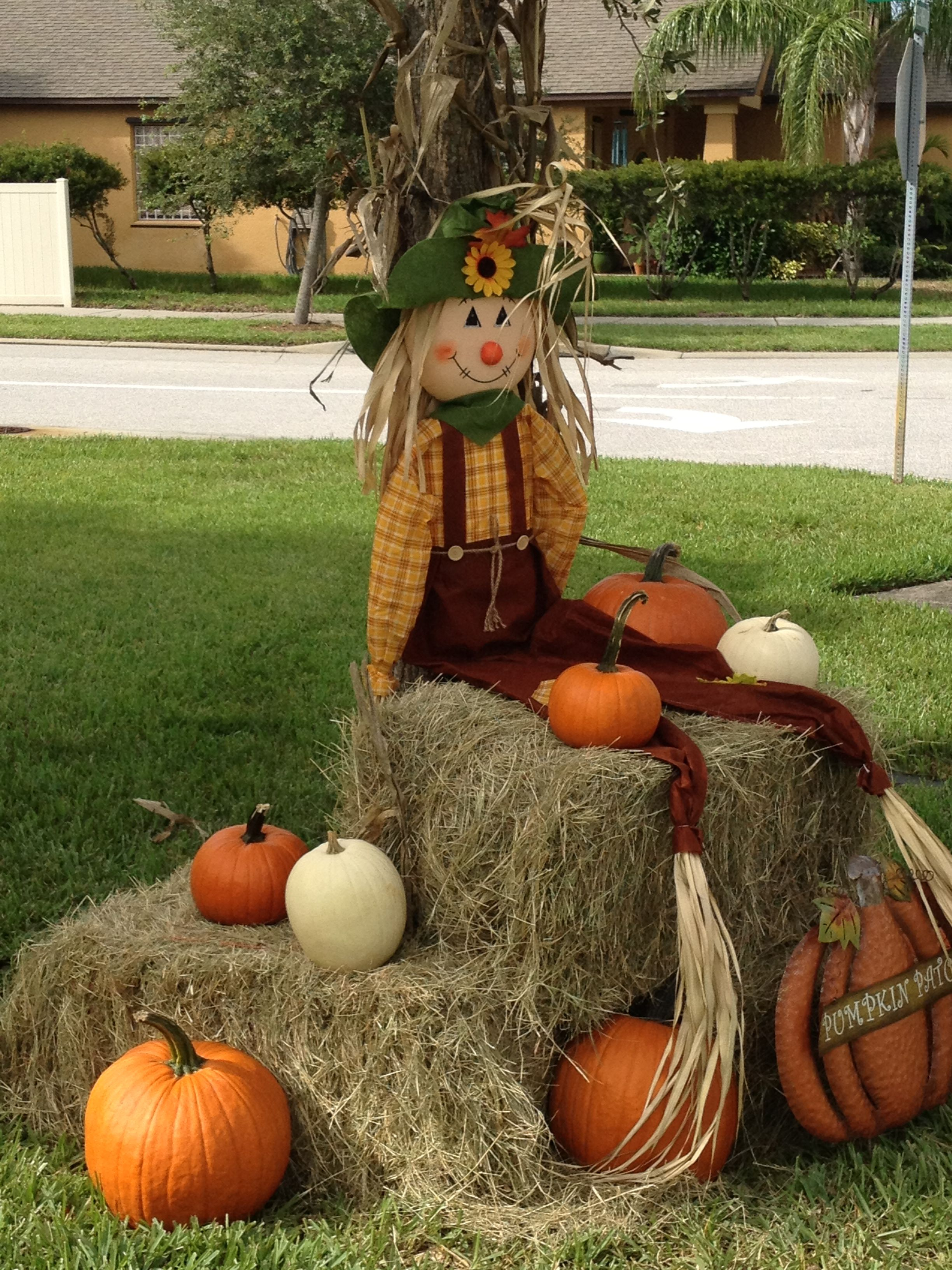 Scarecrow Pumpkin And Hay Bales Cute Fall Display And Photo Op