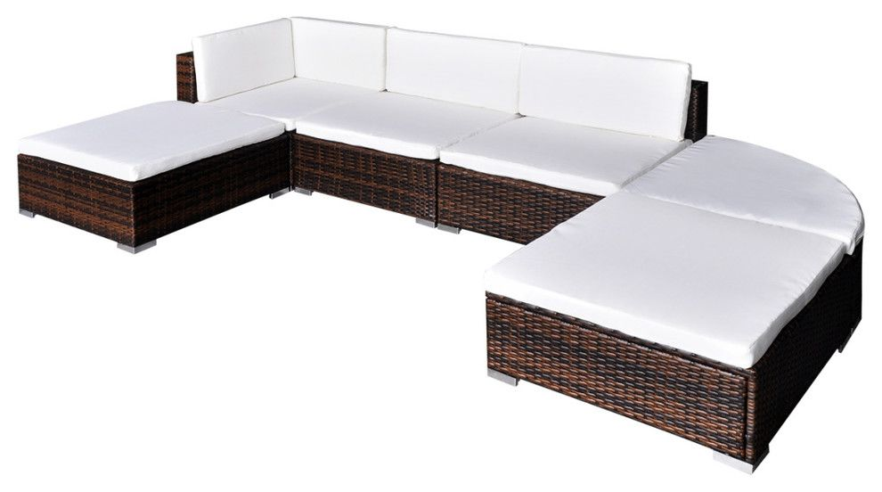 Vidaxl 16 Piece Garden Lounge Set Brown Poly Rattan