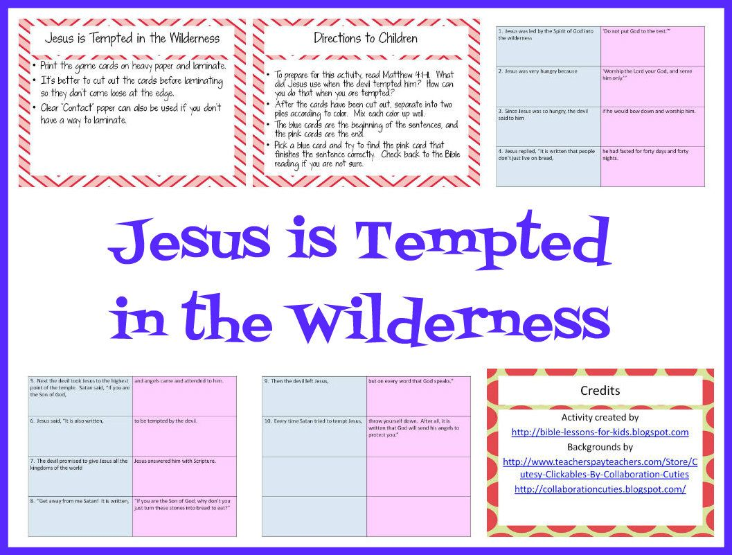 Bible Lessons For Kids Jesus Is Tempted In The Wilderness Card Matching Activity