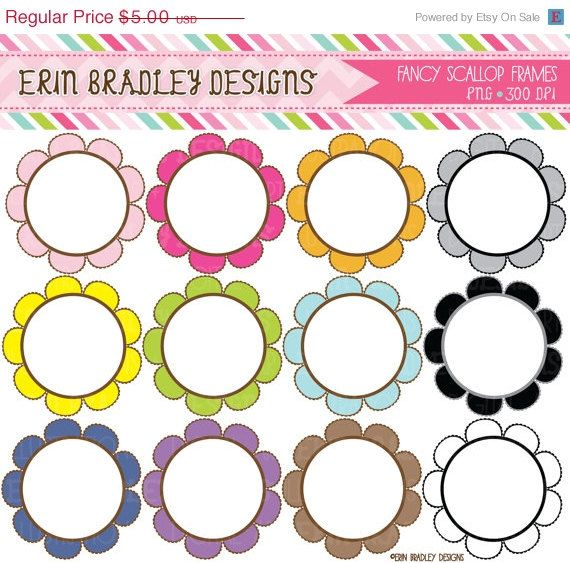 Fancy Circles Clipart Scalloped Circles Clipart Frame Etsy In 2021 Clip Art Circle Clipart Frame Clipart