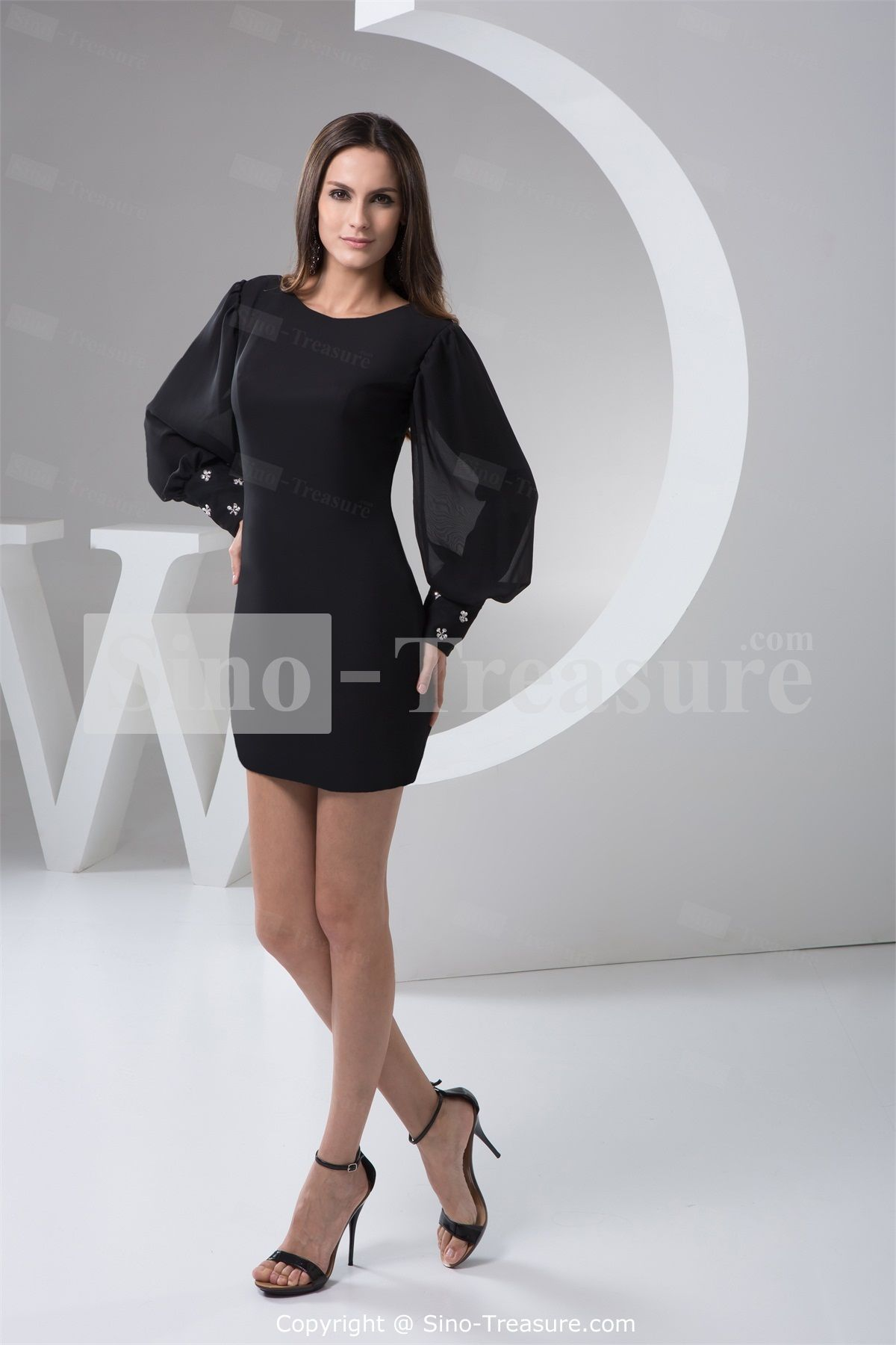 Black short mini chiffon scoop pear long sleeves evening