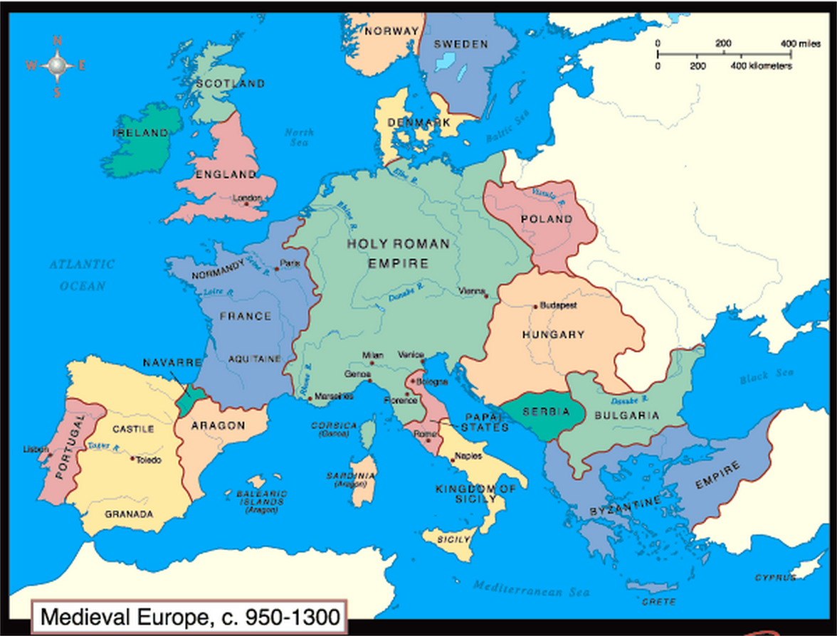 Map Of European States During Me Val Period 950