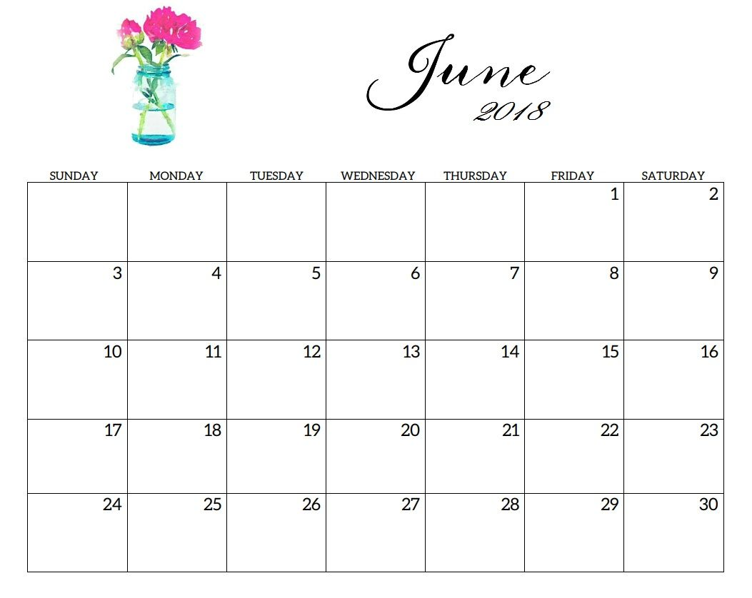 2018 June Calendar Printable Template With Holidays June