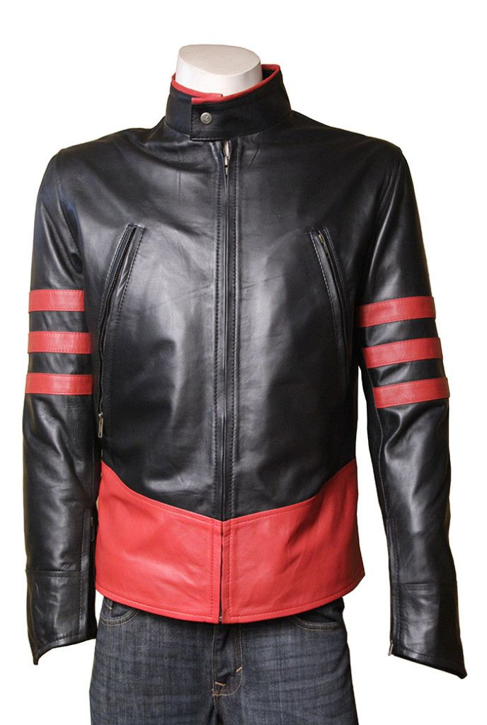 X-MEN WOLVERINE SLIMFIT RED STRIPES LEATHER JACKET at Stinson Leather #Leatherjacket #bikerjacket #Xmenjacket