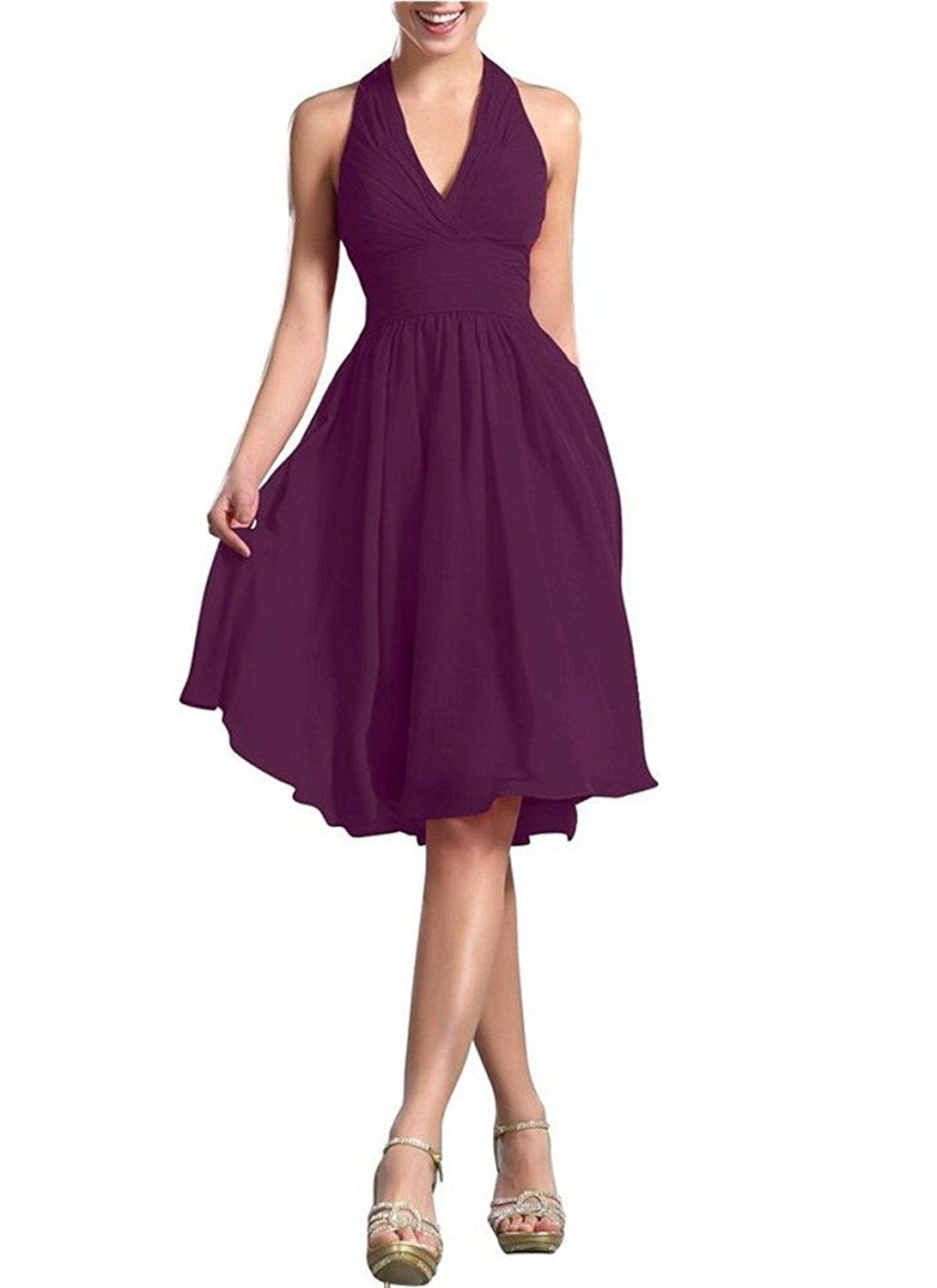 Prom Queen A Line V Neck Fold Chiffon Short Party Bridesmaid Dresses ...