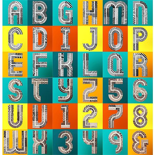 Cardboard alphabet, a handmade modular system which enables the user to build each letter, capital and lower case, out of 6 different basic shapes. By Antonio Rodriguez.