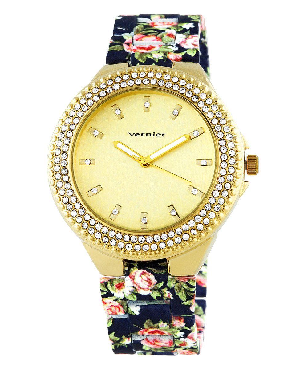 Blue & Gold Floral Bracelet Watch | zulily