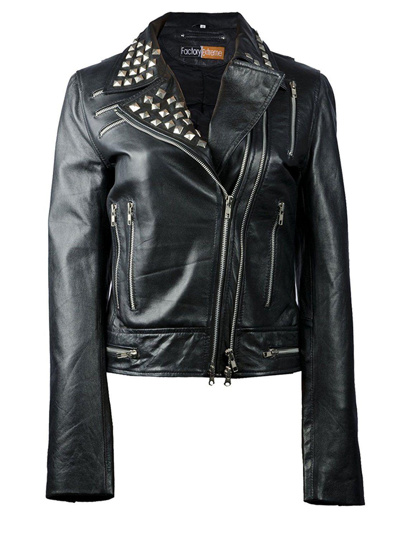 FactoryExtreme Stunner Metallic Womens Black Biker Leather