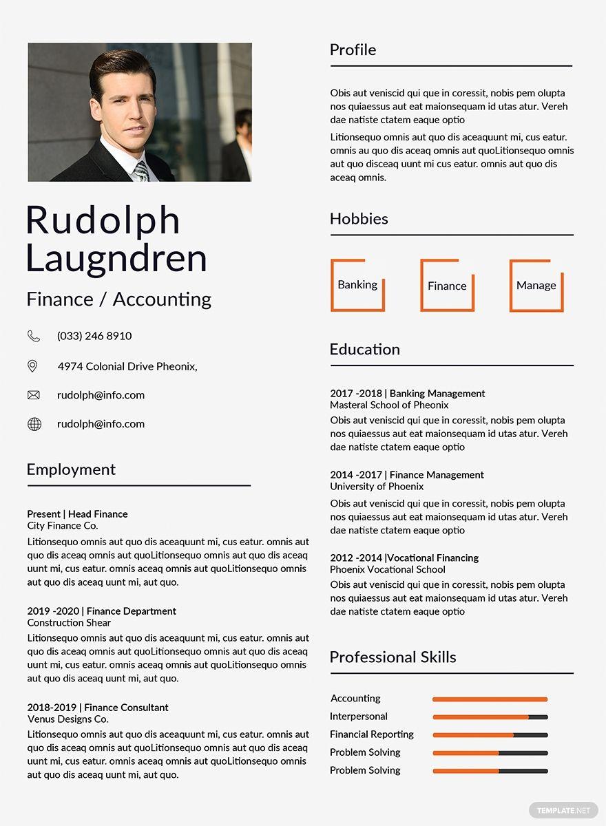 Free Finance Resume Template AD, , Ad, Finance, Free