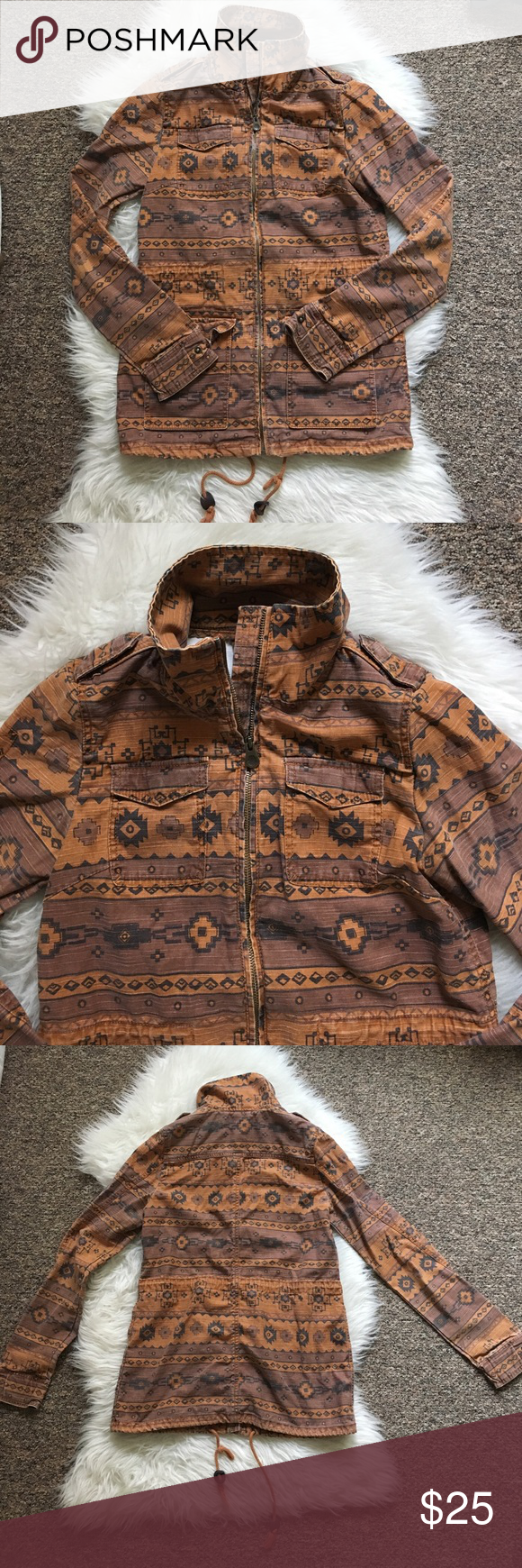 Divided Navajo print coat Beautiful lightweight coat. Copper/orange coloring with a fun print. Gently worn and easy to layer for more warmth! Fits like a S/M✌🏽 H&M Jackets & Coats Utility Jackets