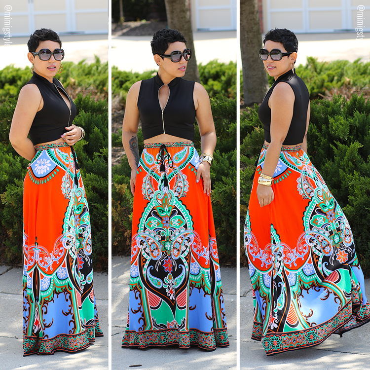 b0c8b215eb Colorful Maxi Skirt + Crop Top | Mimi G - She Made it!!!! | Fashion ...