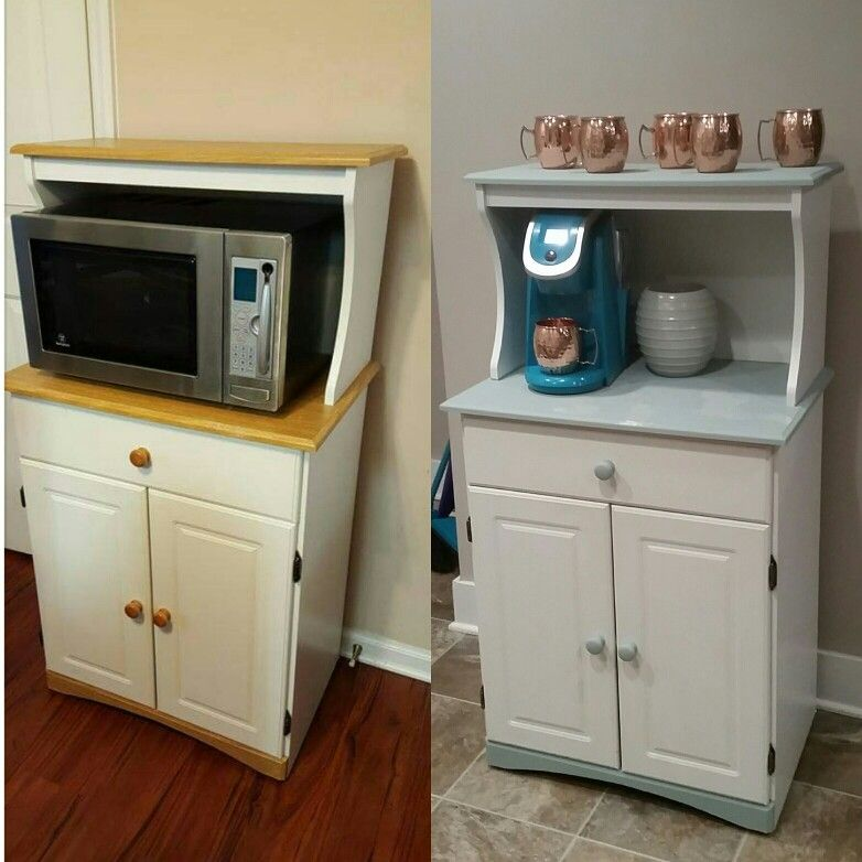 From Microwave Table To Coffee Bar Easy Diy Scoured The Yard Sale Sites And Found A 20 Cart Then Used Ch Microwave Table Bar Table Diy College Apartment Diy